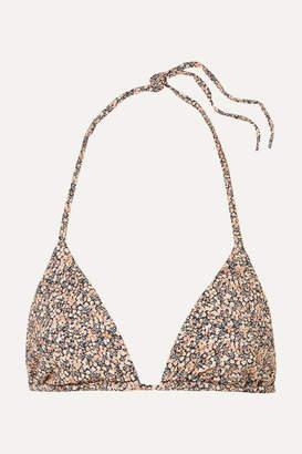 Matteau - The String Printed Triangle Bikini Top - Peach