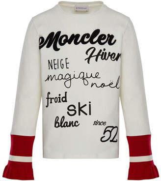 Moncler Long-Sleeve Script T-Shirt w/ Contrast Cuffs, White, Size 8-14