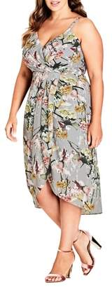 City Chic Romantic Bouquet Faux Wrap Dress