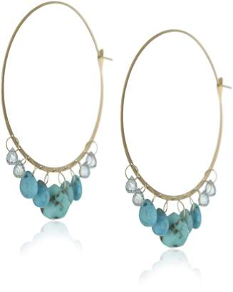 Melissa Joy Manning 14k Yellow Gold, Turquoise, and Aquamarine Hoop Earrings