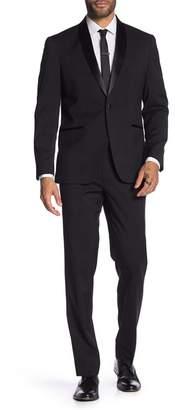 Kenneth Cole Reaction Techni-Cole Black Solid One Button Shawl Lapel Slim Fit Tuxedo