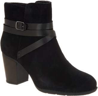 Clarks Suede Ankle Boots with Leather Detailing - Enfield Coco