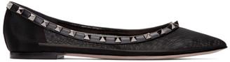 Valentino Black Garavani Rockstud Mesh Ballerina Flats