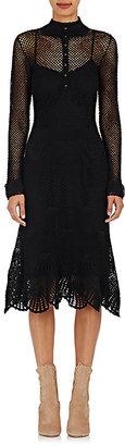 Derek Lam Women's Button-Detailed Cotton Crochet Dress-BLACK $999 thestylecure.com