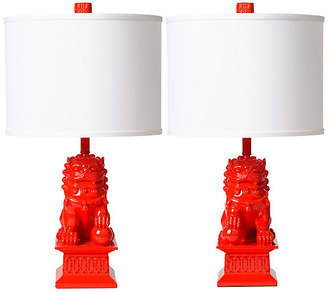Barbara Cosgrove Set of 2 Foo Dog Table Lamps - Apple Red