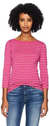Three Dots Women's AU4555 Autumn Stripe 3/4 SLV British tee