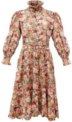 Horror Vacui Collia Floral Print Cotton Midi Dress - Womens - Red Multi
