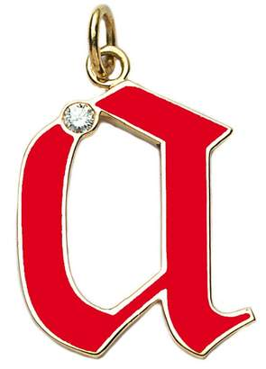 Foundrae Red Champlevé Enamel Initial Charm