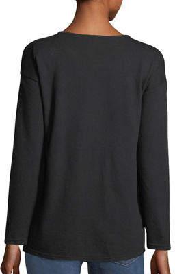 Neiman Marcus Ruched-Front Pullover Sweatshirt