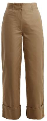 Prada Wide Leg Cotton Trousers - Womens - Light Brown