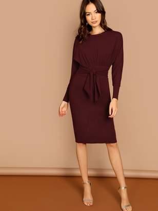 Shein Dolman Sleeve Waist Tie Knee Length Dress