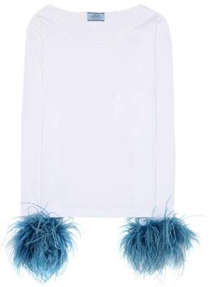 Prada Feather-embellished white cotton top