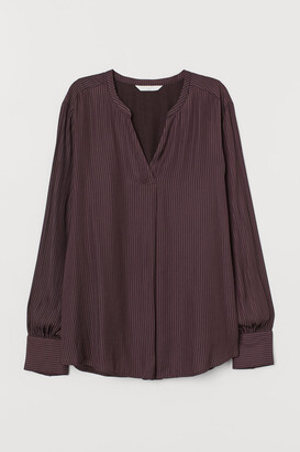 H&M MAMA V-neck Nursing Blouse - Brown