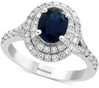 Effy Sapphire (1-3/8 ct. t.w.) & Diamond (3/4 ct. t.w.) Halo Ring in 14k White Gold