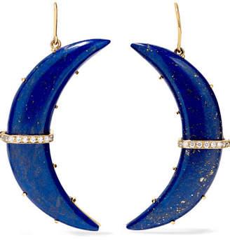 Andrea Fohrman Crescent Moon 14-karat Gold, Lapis And Diamond Earrings