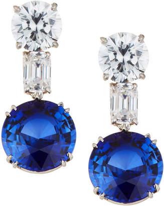 FANTASIA Mixed-Cut Clear & Blue Crystal Drop Earrings