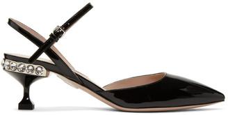 Miu Miu Black Patent Slingback Heels