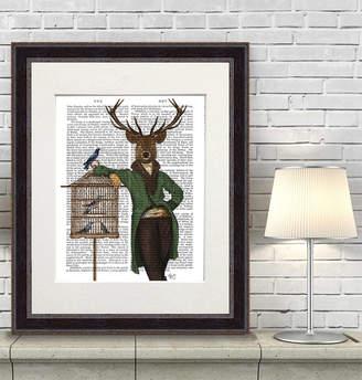 FabFunky Home Decor Deer Wall Art, Deer And Bamboo Cage, Book Print