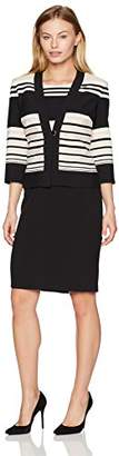 Danny & Nicole Women's Petite Two Piece 3/4 Sleeve Jacket and V-Neck Dress