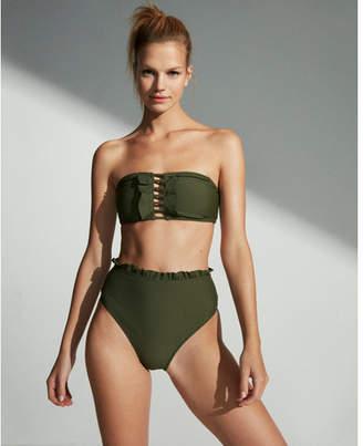 Express high waisted ruffle bikini bottoms