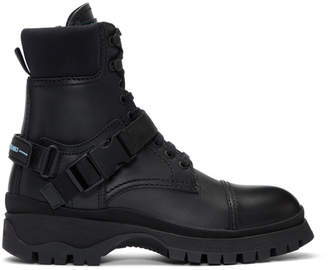 Prada Black Clip Detail Combat Boots