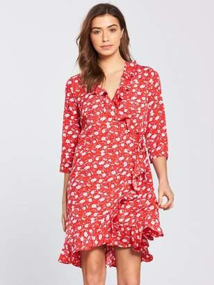 Vero Moda Molly Printed Wrap Dress - Poppy Red