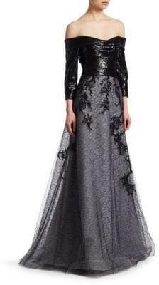Rene Ruiz Embellished Off-The-Shoulder Gown