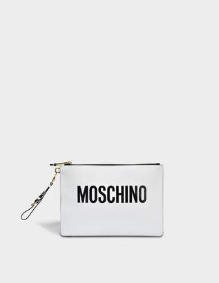 Moschino Pouch Large Bag in White Calfskin