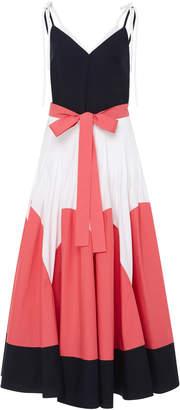 DELPOZO Color Block Pleated Midi Dress