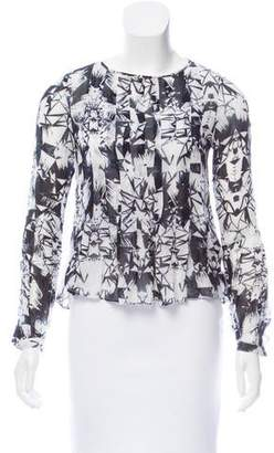 Nicole Miller Printed Long Sleeve Top