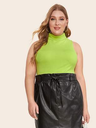Shein Plus High Neck Solid Neon Green Knit Top