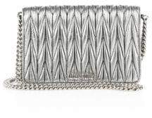Miu Miu Matelasse Woven Leather& Chain Crossbody