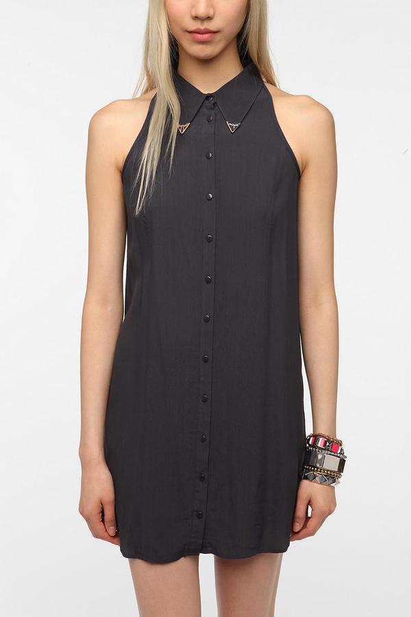 Sparkle & Fade Metal-Tipped Collar Sleeveless Shirtdress