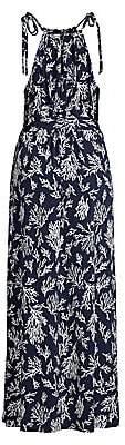 MICHAEL Michael Kors Women's Tie-Strap Reef Print Maxi Dress