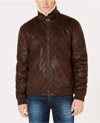 GUESS Men's Textured Aviator Bomber