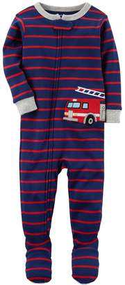 Carter's Baby Boy Striped Fire Truck Applique One-Piece Footed Pajamas