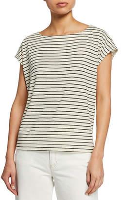 b03d640937b6e Eileen Fisher Groove Striped Cap-Sleeve Crop Top