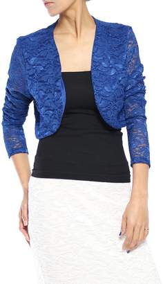 TheMogan Junior's Occasion Lace Short Sleeve Bolero Shawl Crop Jacket Coral L