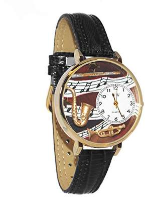 Whimsical Watches Unisex G0510014 Wind Instruments Black Leather Watch