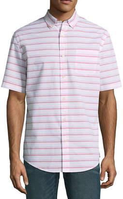 ST. JOHN'S BAY Short Sleeve Stripe Button-Front Shirt