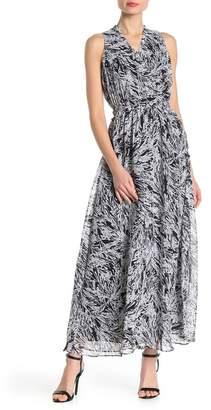 London Times Printed Surplice Neck Maxi Dress
