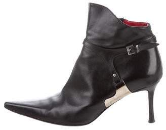 Cesare Paciotti Leather Pointed-Toe Ankle Booties