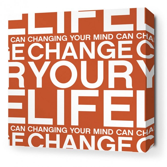 Change Your Life in Rust Stretched Wall Art