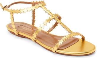 Aquazzura Antique Gold Starlight Leather Flat Sandals