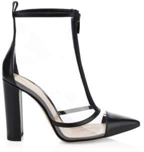 Gianvito Rossi Clear Leather Point-Toe Booties