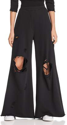 Alexander Wang Destroyed Wide-Leg Pants