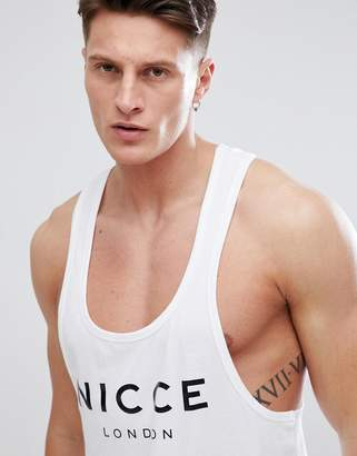 Nicce London racer back tank in white with large logo