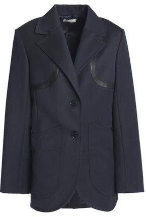 Leather-Trimmed Wool-Twill Blazer