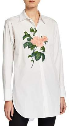 Oscar de la Renta Rose-Embroidered Button-Front Blouse