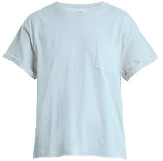 Frame Crew Neck Patch Pocket Cotton Jersey T Shirt - Womens - Light Blue